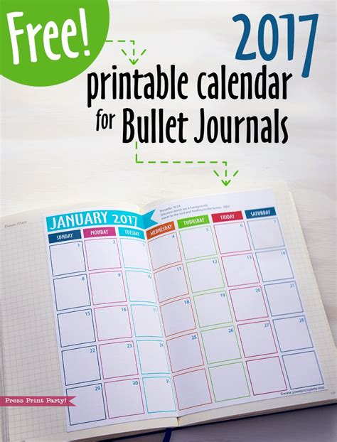 printable bullet journal calendar free 2017 calendar printable for bullet journals press