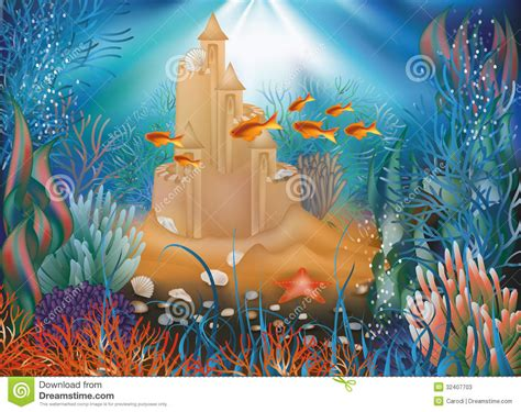 Drawingmesh M by Underwater World Wallpaper With Sandcastle Stock Vector