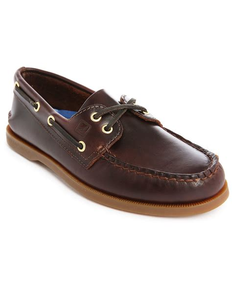 leather boat shoes sperry top sider amaretto a o brown leather boat shoes in