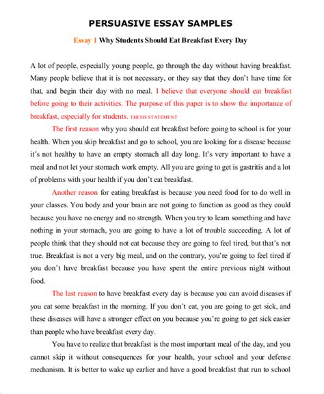 Persuasive Essay Exle For by Persuasive Speech Exle Sles In Pdf Word