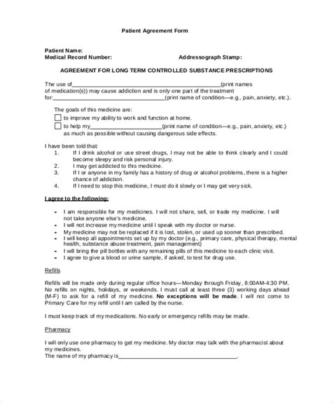 Patient Agreement Letter sle form 18 documents in pdf