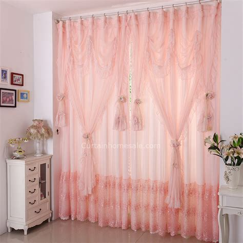 light pink curtain light pink color princess embroidery lace fabric curtain