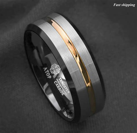 8Mm Silver Brushed Black edge Tungsten Ring Gold Stripe