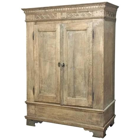 Swedish Armoire by Swedish Armoire Stripped Oak Carved Neoclassical