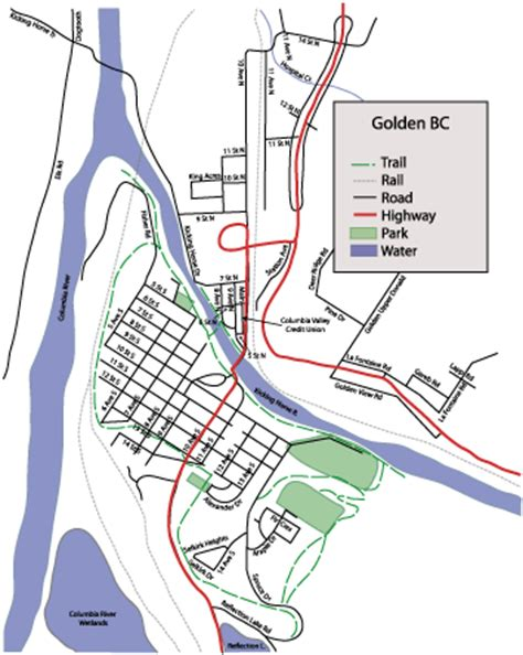 golden map columbia valley credit union golden town map