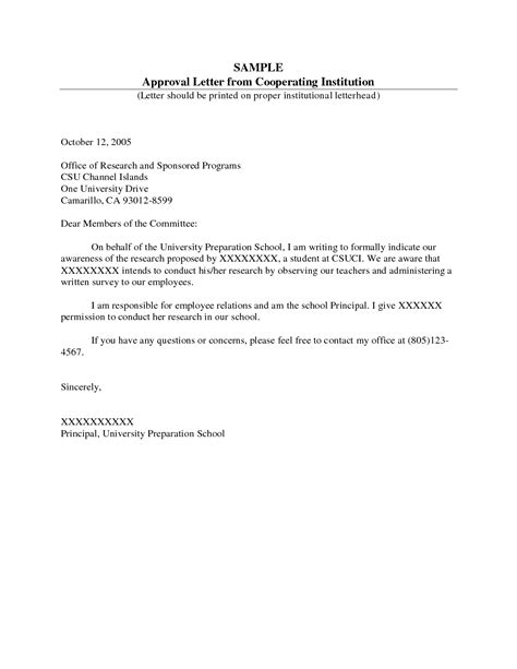 Sle Letter Of Consent To Conduct Research Format Of A Permission Letter Best Template Collection
