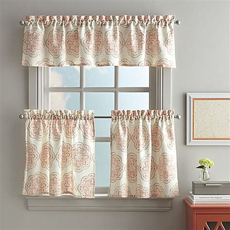 Coral Valance Curtains Namaste Kitchen Window Curtain Tier And Valance In Coral Bed Bath Beyond
