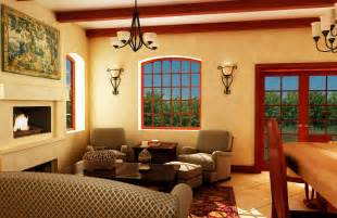 tuscan living room interior design with fireplace and