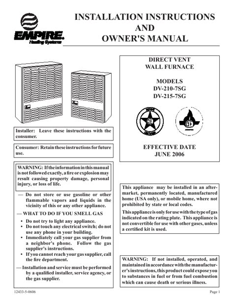 empire comfort systems inc empire comfort systems furnace dv 210 7sg user s guide