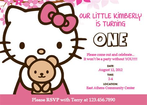 hello kitty custom birthday invitation printable by