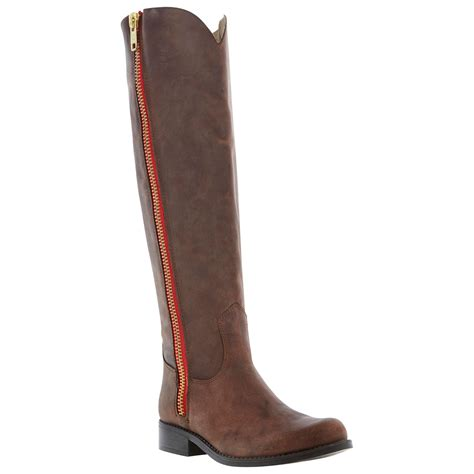 steve madden knee high boots steve madden ruse zip knee high boots in brown