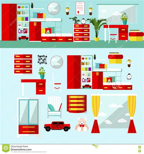 bedroom interior in flat style vector illustration