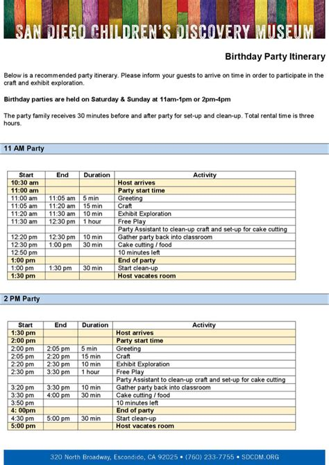 party itinerary templates download free premium