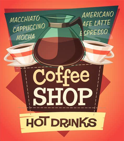 coffee shop vector design coffee shop hot drinks vector free vector graphic download