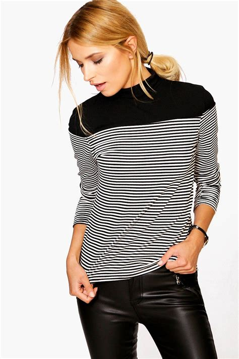 Blouse Starburks White Or Black black and white striped shirt patchwork high neck blouse knitted sleeve top tops and
