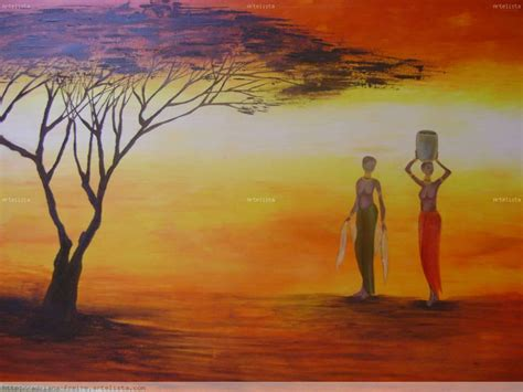 cuadros africa paisaje oleo africanos imagui