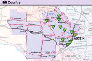 hill country map with cities hill country