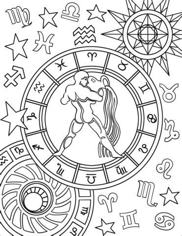 printable zodiac signs to color aquarius zodiac sign coloring page free printable