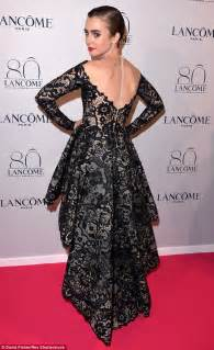 lily collins in stunning lace gown at lancome birthday