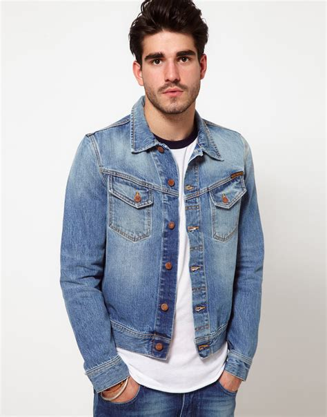 Mens Light Wash Denim Jacket by Nudie Denim Jacket Conny Light Wash In Blue For