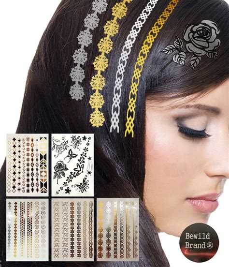 temporary hair tattoos hair tattoos by bewild 174 set of 5 sheets containing 30
