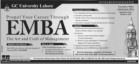 Executive Vs Evening Mba by Gc Lahore Executive Mba Evening Admission 2017 Form