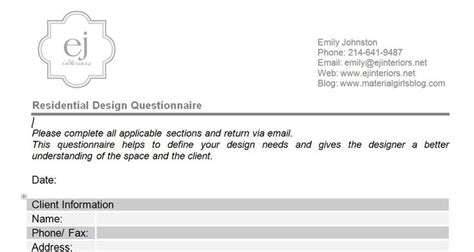Interior Design Questionnaire For Clients by Interior Design Questionnaire For Clients