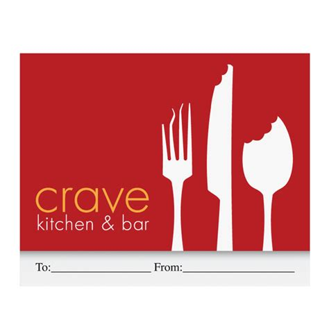Crave Kitchen Bar economy standard gift card holder customizable gift card packaging