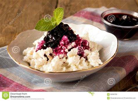 cottage cheese with jam stock photo image 58390760