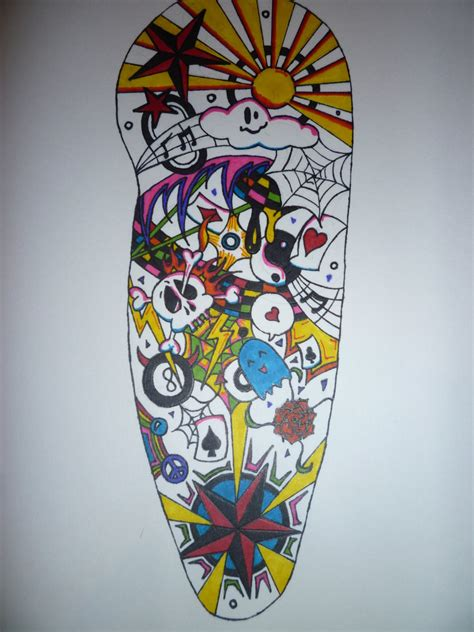 random tattoo sleeve design coloured half sleeve by aalleeexx on deviantart