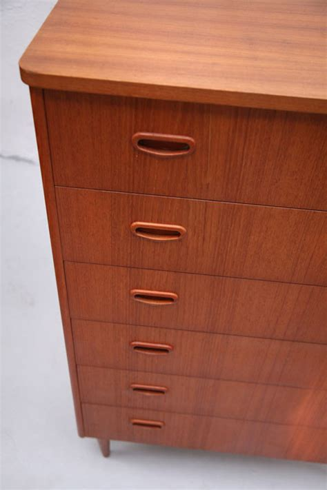 Teak Chest Of Drawers by 1960s Teak Chest Of Drawers And Chrome