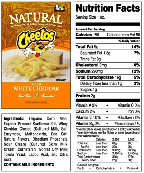 hot chips nutritional information frito lay cheetos natural white cheddar puffs with no msg