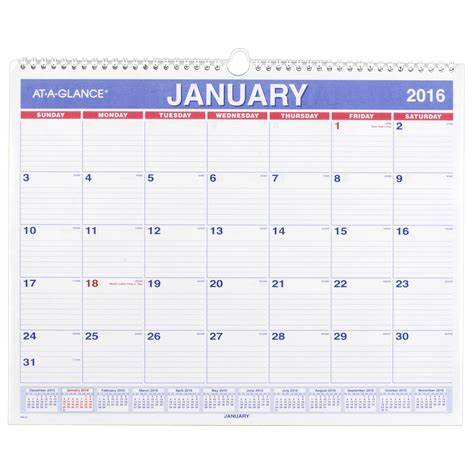 Month At A Glance Calendar At A Glance Monthly Wall Calendar 2016 12