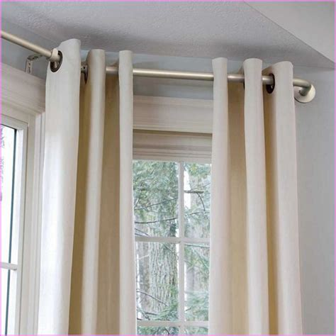 how to hang bay window curtain rods diy bay window curtain rod home design ideas