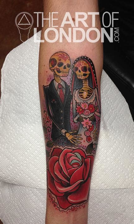 day of the dead couple tattoos day of the dead by reese tattoonow