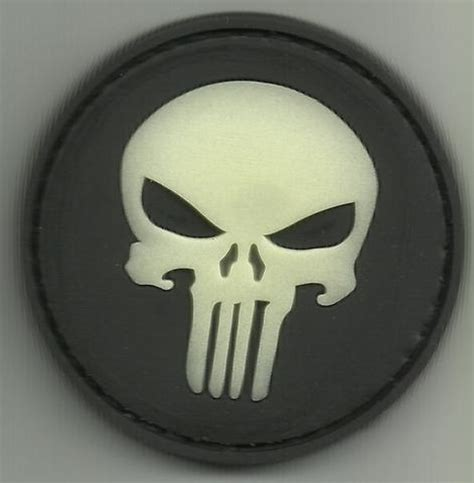 Patch Pacth Rubber Punisher Putih Patch Velcro punisher skull quot glow quot 3d pvc velcro patch