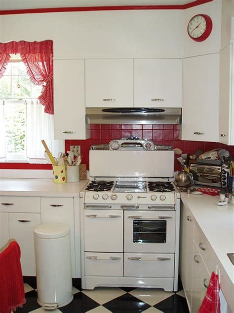 retro kitchen david creates a sunny red and white vintage kitchen for