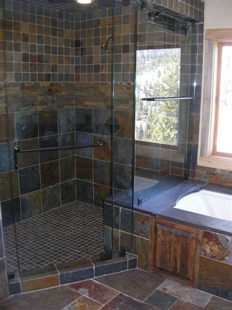 bathroom with slate tile slate tile shower