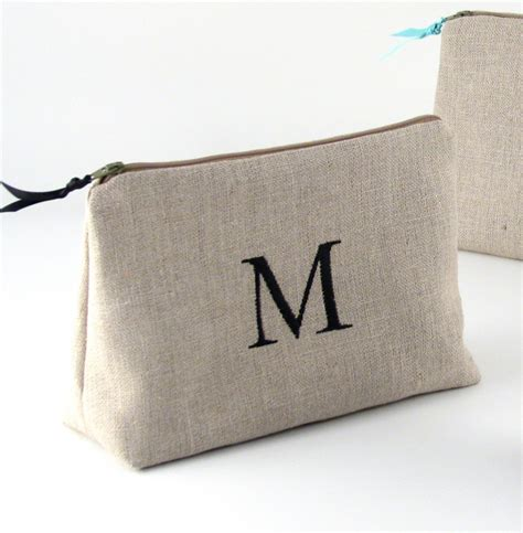 Custom Initial Name Clutch Classic Black 3 Personalized Linen Cosmetic Bag