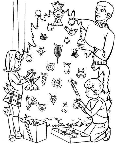 coloring page of a christmas tree with decorations christmas tree coloring pages online coloring home