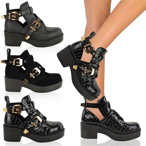 womens cut out boots flat low heel strappy biker