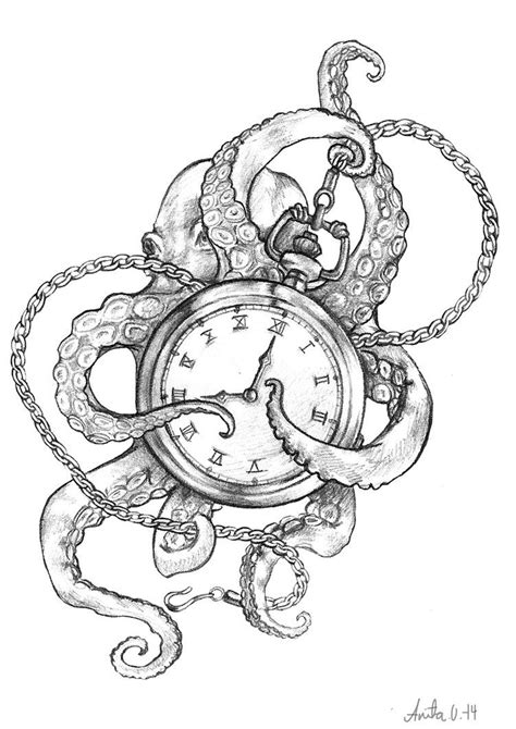 neck piece tattoo designs the octopus and the timepiece by anitakolsen octolove