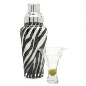 Zebra striped glass cocktail shaker