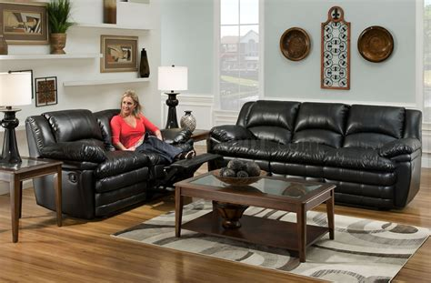 Black Bentley Bonded Leather Reclining Sofa Loveseat Set Black Leather Recliner Sofa Set