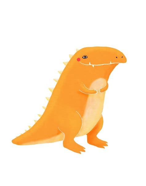Orange Dino t rex nursery orange dinosaur on white 8 5 x