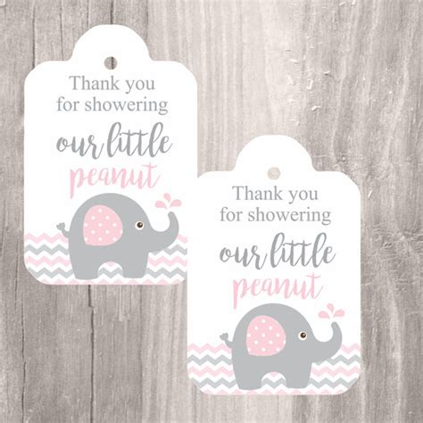 Printable Thank You Tags For Baby Shower Favors by Printable Elephant Baby Shower Favor Tags Pink And Grey