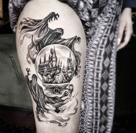 harry potter thigh tattoo with dementors amp hogwarts best