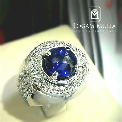 Cincin Mewah Safir Cylon Bertabur Berlian jual cincin berlian pria dg blue sapphire sdmc 1510 01 logammuliajewelry