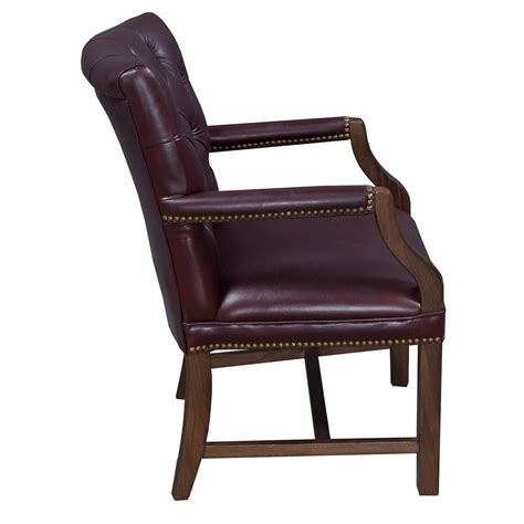 Burgundy Chair by Traditional Walnut Tufted Leather Side Chair Burgundy