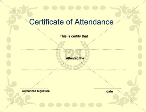 template for certificate of attendance certificate of attendance template for free and premium